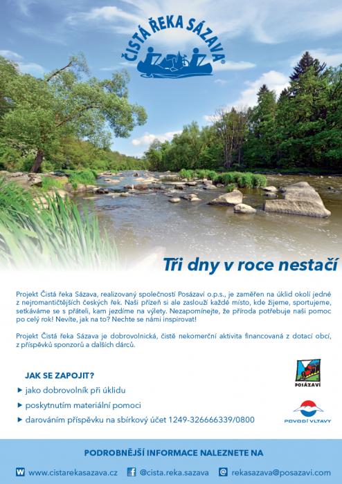 leták Čistá řeka Sázava 2020